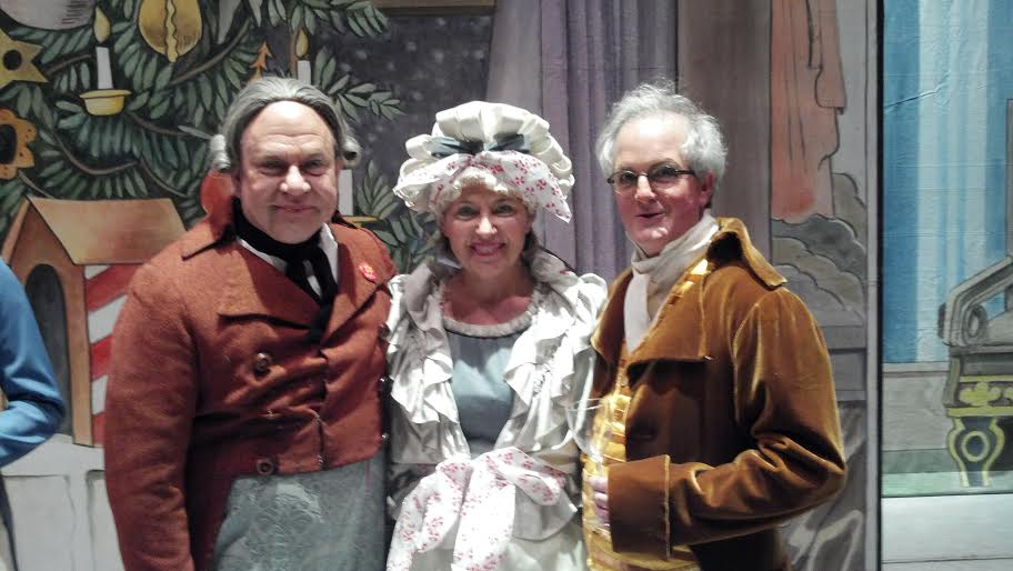 """Happy Holidays to all. One of my favorite holiday traditions is to perform the role of Grandmother in Pacific Northwest Ballet's Nutcracker. Here I am with grandfather, Tad Cook, and the drunken uncle, Kevin Cooney, on Christmas Eve for the """"Nutty Nutcracker."""" I added Christmas cheer to my dowager's costume."""