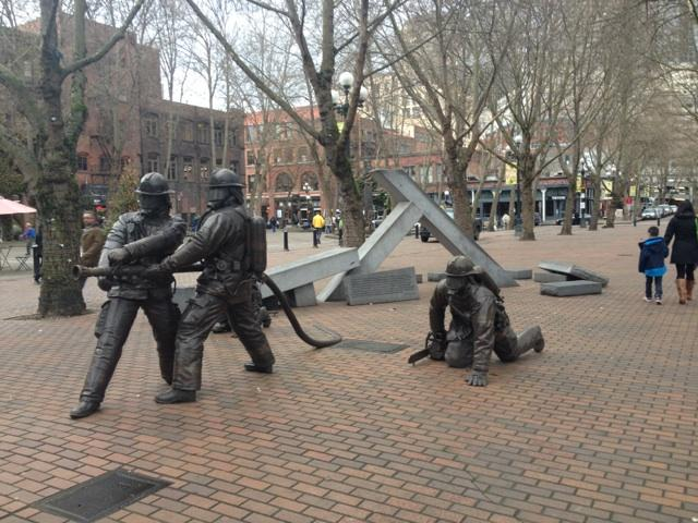 Seattle Fallen Firefighters Memorial, Occidental Park, Pioneer Square in Seattle.